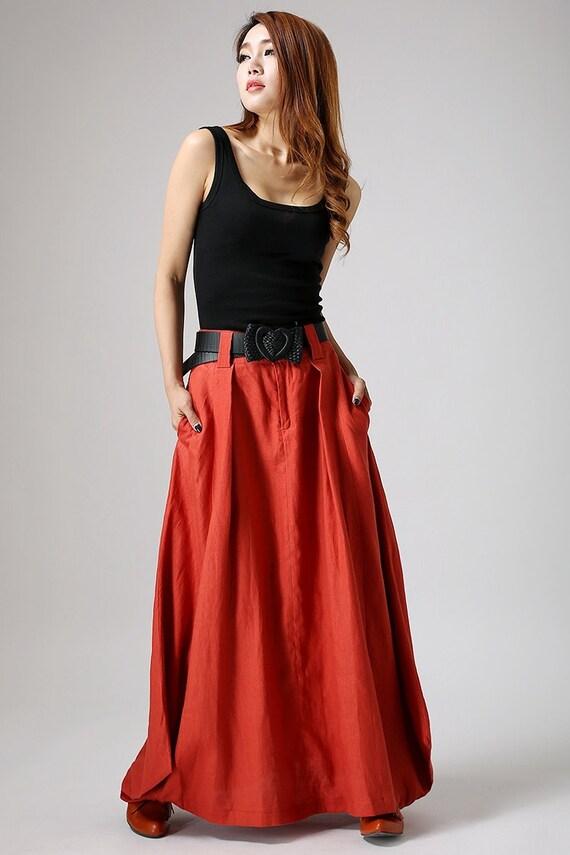 Maxi Skirt Orange Skirt Boho Skirt Linen Skirt Long Skirts