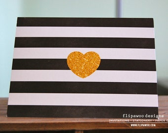Glitter Heart with Black Stripes Note Card - Printed A2 Fold-Over Note Card