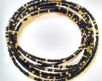 Black & Gold African Waist Beads - Belly Chain - Belly Beads - With Clasps