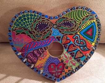"Hand Painted Bohemian Wood Heart Harp 10""Wx8.5""Hx1.5""D  X0170"