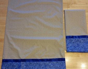 SALE!   Pillowcase Pair - Blue/Tan