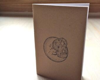 Pequeño diario: Luna, estrellas, niños, Kraft, Simple, Jotter, revista Mini, pequeño cuaderno, estampado, único