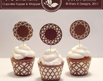 SVG Ornaments Cupcake Topper and Wrapper