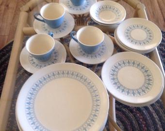 Vintage Homer Laughlin Blue 21-Piece Fleur de Lis Dishes