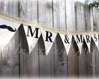 Mr and Mrs Wedding Banner-Mr and Mrs Lips and Mustache Wedding Banner - Wedding Party Banner- Wedding decorations- Canvas banner