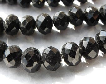 50 mmx6 8 mm Abacus has glossy black faceted crystal glass beads