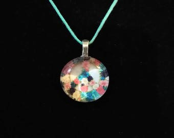 Flower peace sign glass gem necklace