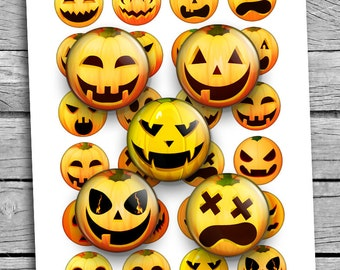 "Pumpkin Faces 35mm 30mm 1.5"" 1"" Halloween Printable Digital Collage Sheet Printable Download"