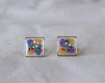 Hand painted earrings, Mosaic earrings, Square earrings, Colourful earrings, Art earrings, Clear earrings, Handmade earrings