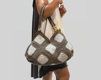Crochet bag,Gray cotton bag, Granny square purse, summer bag, handmade handbag, crochet cotton bag/ two tones bag/ ready to ship