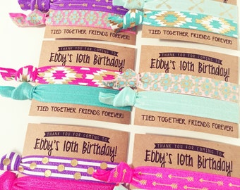 Birthday Party Hair Tie Favors | Fun Boho Birthday Hair Tie Favors, Pink Purple Gold Aqua Turquoise Party Favors for Girls, Friends Forever