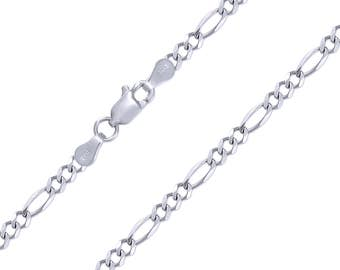 """14K Solid White Gold Figaro Necklace Chain 5.0mm 18-30"""" - Polished Link"""