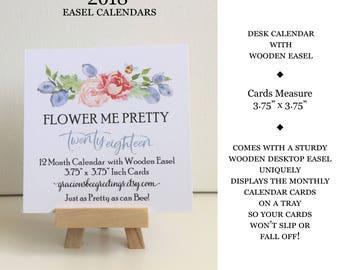 2018 Calendar | 2018 Desk Calendar with Wooden Stand | 2018 Calendar with Easel | 2018 Floral Desk Calendar