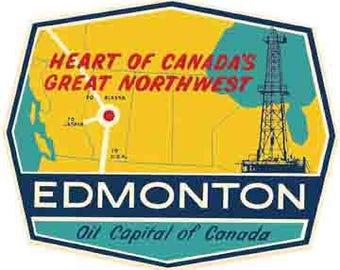 Vintage Style Edmonton Canada  Travel Decal sticker