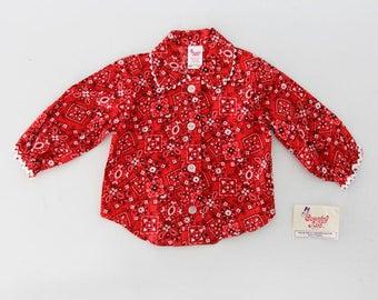 vintage kids bandana print top, new old stock blouse