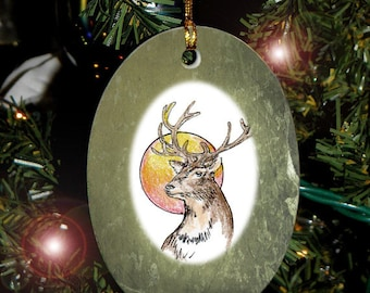 Stag Totem Animal Yule, Holiday, Christmas Ornament