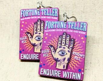 Fortune Teller Earrings / Psychic Earrings / Spirit Earrings / Magic Accessories / Witch Accessories / Wiccan Jewelry / Eye Jewelry / Gypsy