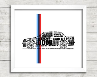 "BMW E30 3 Series, Automotive Art, BMW E30, Car Art, E30, Instant Download, BMW Decor, Automotive Decor, bmw wall art, 8x10"", 14x11"", 16x20"""