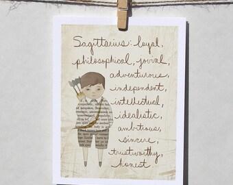 Sagittarius boy card Astrology card Zodiac card Astrological sign card