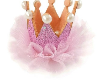 Light Pink Tulle Crown  with Felt Glitter and Pearls - DIY Birthday Crown - 1st First Photo Prop Headband Supplies - Supply - 3.5""