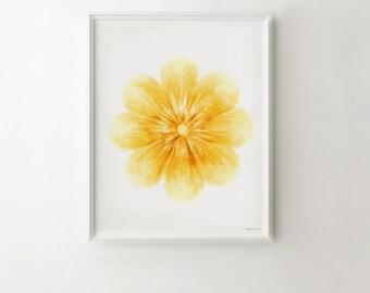 Yellow flower art print, Yellow wall art Baby nursery print, Yellow nursery decor wall art, Yellow wall decor Flower wall art Yellow artwork