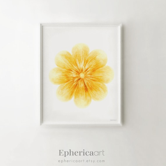 Yellow flower art print Yellow wall art Baby nursery print
