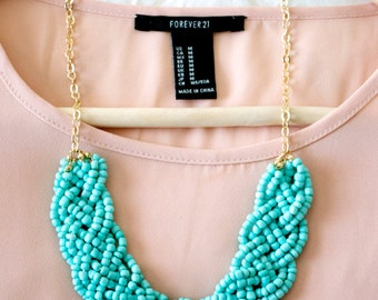 Turquoise Bold Braid Necklace, Blue Statement Necklace, Bib Necklace, Braided Necklace, Beaded Necklace, Chunky Necklace, Turquoise Necklace