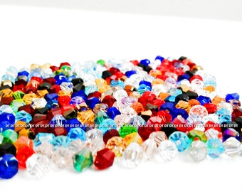 200 pcs --- 4mm - bicone --- SWAROVSKI CRYSTALS ab & non ab mixed colors necklace bracelet spacer beads jewelry supplies --- 5301