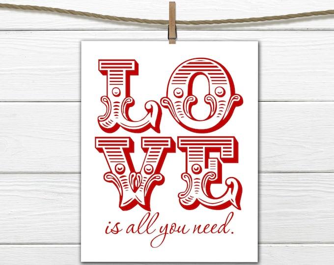 Valentine Decor  8x10 INSTANT DOWNLOAD - Happy Valentine's Day Print