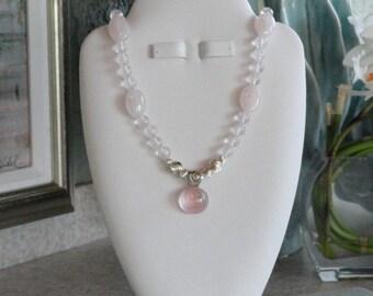 Pink Rose Quartz beaded necklace with Rose Quartz pendant  -  171