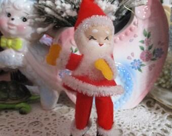 Vintage Christmas Spun Cotton Pick-Ornament-Santa-Tie Ons-Corsage-Clay Face