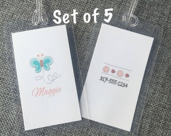 Lunch Box Tags- SET OF 5 - Custom Bag Tag, Luggage Tag, Back Pack Tag, Lunch Box Tag
