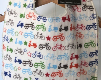 Baby Bib, toddler, infant, motorcycles, bicycles, mopeds, flannel, baby shower