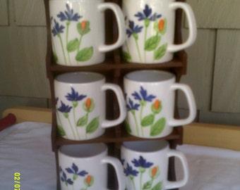 Six Ceramic Iris Mugs with Hanging Shelf, Made in Japan, Floral Mug Set, Japan Mug Set, Coffee Mug Set, Tea Mug Set. Floral Mugs