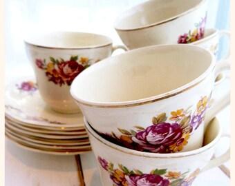 Set of 6 REGENCY BRITISH ANCHOR earthenware teacups -  Fleurette pattern, 22 kt gold