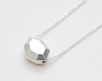 Faceted polygon pendant necklace in sterling silver
