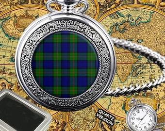 Murray Scottish Clan Tartan Mens Pocket Watch,Gift Box,Engraving