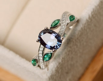 Alexandrite ring, leaf ring, oval shaped engagement ring, June birthstone ring