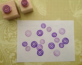 Water ripples rubber stamp set // 2 hand carved rubber stamp set