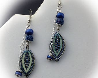Earrings dangle, blue, Bohemian, polymer clay.