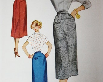Slim Pencil Skirt Sewing Pattern, McCall's 9134, 1950s Skirt Pattern