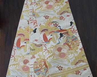 Second hand maru-obi, vintage obi, Japanese antique obi Belt for formal kimono, crane, hand drum