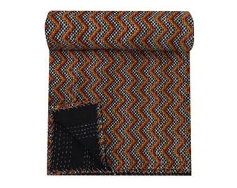 Exclusive Print Kantha Quilt, handmade ethnic Indian throw,Bohemian Bedspread blanket