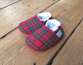 Newborn Tartan Baby Shoes, Soft Sole Baby Shoes, Toddler slippers, Baby booties