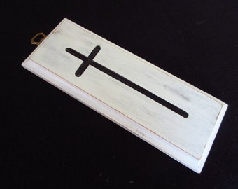 Black and White Farmhouse Cross Wooden Cross Christian Wall Decor Distressed Cross