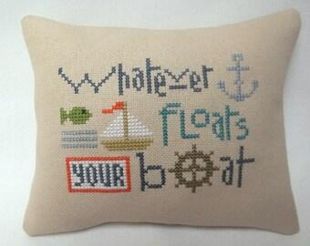Sailboat Cross Stitch Nautical Mini Pillow Whatever Floats Your Boat Shelf Pillow