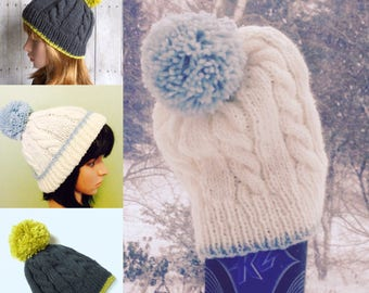 Instant Download Knitting Pattern, Tip It Pattern, Knit Pattern for Cabled Pom Pom Beanie, Pattern for Two Color Winter Hat