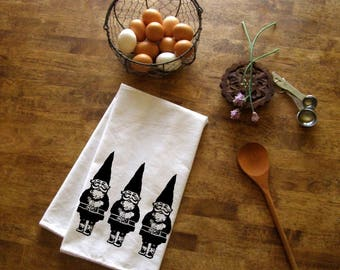 Gnomes Kitchen Towel CUTE screen print Christmas tea towels decor gnome gifts Indie Holiday Housewares hostess gift trendy Woodland under 10