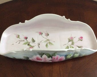 A Beautiful Antique Pink Floral Designed Porcelain Dresser and Vanity Tray, Aw17Ww.