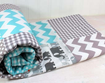 Baby Blanket, Elephant, Nursery Decor, Minky Baby Blanket, Baby Bedding, Baby Quilt, Baby Shower Gift, Aqua, Gray, Grey, White, Elephants